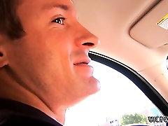 Street hooker sucking cock in the car