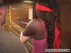 Busty black amateur teen home bukkake