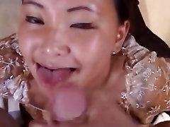 Cute Asian girlfriend giving blowjob