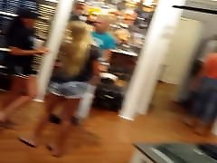 Candid school girl vs black cock volleyball teen in spandex shopping