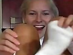 Mouthwatering gal shows hot vagina hole in pantyhose