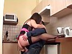 Big natural boobed amateur housewife fucked in her kitchen