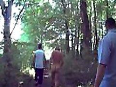 Slut Suzi taken for a walk in the woods.