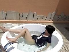 Cute trans jap bathing