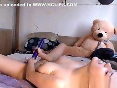 Amateur lovely big tits teen camgirl masturbates on webcam
