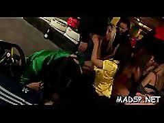 Excited babes share a dick and lick every other up at boy to boy sex three party