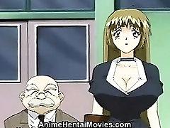 Blonde Teacher drilled by 3 students - anime eu stepmom kitchen movie