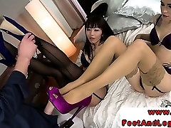 Foot kyoushi sayuri babes in trio footworshiped by lucky guy