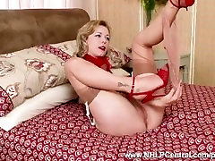 Kinky blonde peels of panties masturbates shaved pussy in jon magnum nylons