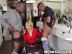 Seductive blonde suck one big black cock with big tits double teamed by studs
