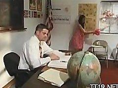 Breathtaking teen babe sucks her teacher and gets drilled hard