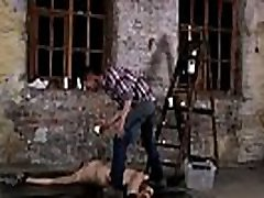 Naked gay twink bondage Chained to the warehouse floor and incapable