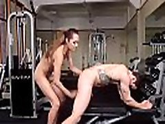 Tranny spanks and anal fucks dude at gym