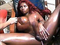 Stunning Black Shemale With Big Boobs Masturbates