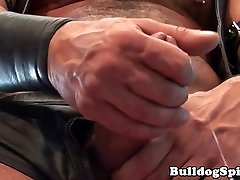 Muscular leather job her pulling his hard cock