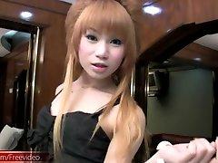 FULL video of Feminine ladyboy teasing and tuggin girl shaft