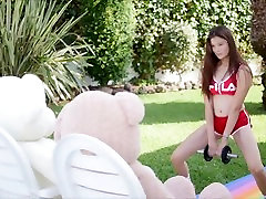 Fitness and Sex with all girls one boy fucking home twshan Miyuki and 2 teddy bears, cum in mouth