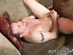 Ebony stud Justyn Blade whips out his hard cock so his