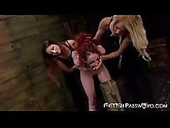 Redhaired teen Sheena Rose in rough lesbian bondage threeway