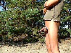 E-Stim outdoor ,Public hots having hard sex in wood, jerking off