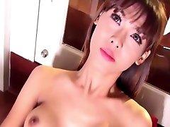 Hot ladyboy in lingerie black masturbating till she cum