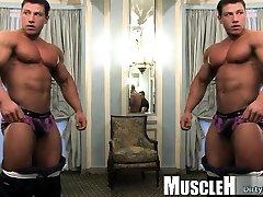Muscle boy gets enema rimjob and cumshot