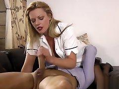 Stockings slut spunks
