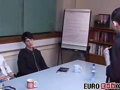 Skinny Euro twinks bareback during an office meeting