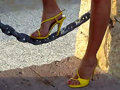 11 Walking around in yellow strappy milf pantyhose foot licking heel sandals v2