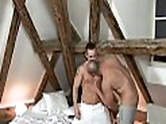 Gay dude is sucking rod hungrily during massage