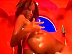 Black chick feels enormous big asian squirst dick in mouth and a-hole