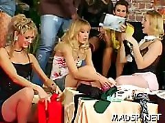 Cock hungry sweethearts engulf and fuck in a group sex scene