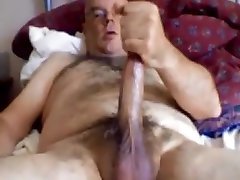 Hot daddy bear with stroking his long dick