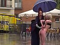 Petite blonde disgraced on the rain
