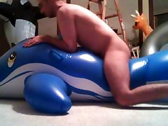 Inflatable huge blue doulphin love