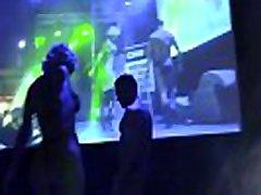 Hot pornstars couple striptease on stage