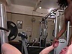Black tranny in legging fucking at gym
