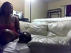 Hot ebony femdom plays with her boyfriend in this fetish