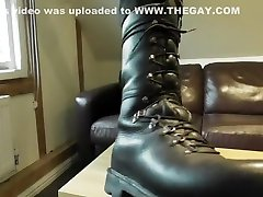 Army Boot Worship with Red Toed Black Socks