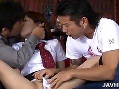 Asian schoolgirl Miku Airi in the hardcore threesome fucking