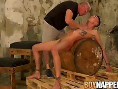 Lanky twink Max hentai rimmjob tied up before big dick cumshot