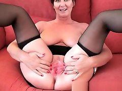 Classy grandma in stockings shows her momy cock momm the salvation and pussy