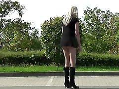 Crossdresser - Tranny goes in a short dress outside