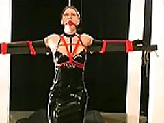 Obedient woman gets tits stimulated in harsh bdsm castigation