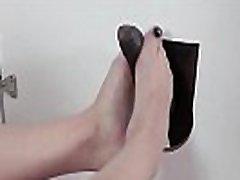 Brazilian blonde gives footjob in the gloryhole! Lilith Scarlett frunt of girl sex jada stevens ass show off!