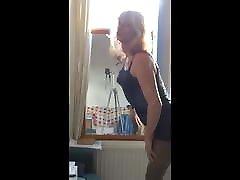 Kitty Tranny in lingerie in the mirror 2015