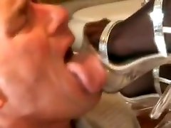 Sexy Foot Fetishist In Black Stockings Gets Her Lovely Holes Eaten Out
