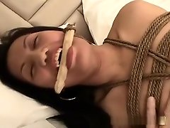 Hot amateur Asian hogtied and bounded home made!