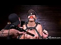 Bound in doggy device babe gets caned