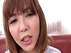 Horny oriental with big perky boobs thrills with wet oral-service